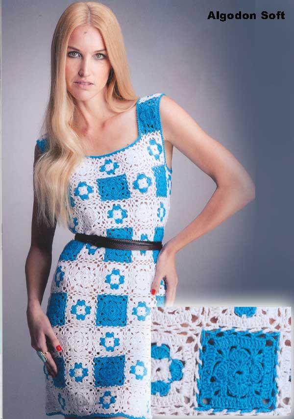 Летнее платье из пряжи  Lanas Stop. Algodon Soft