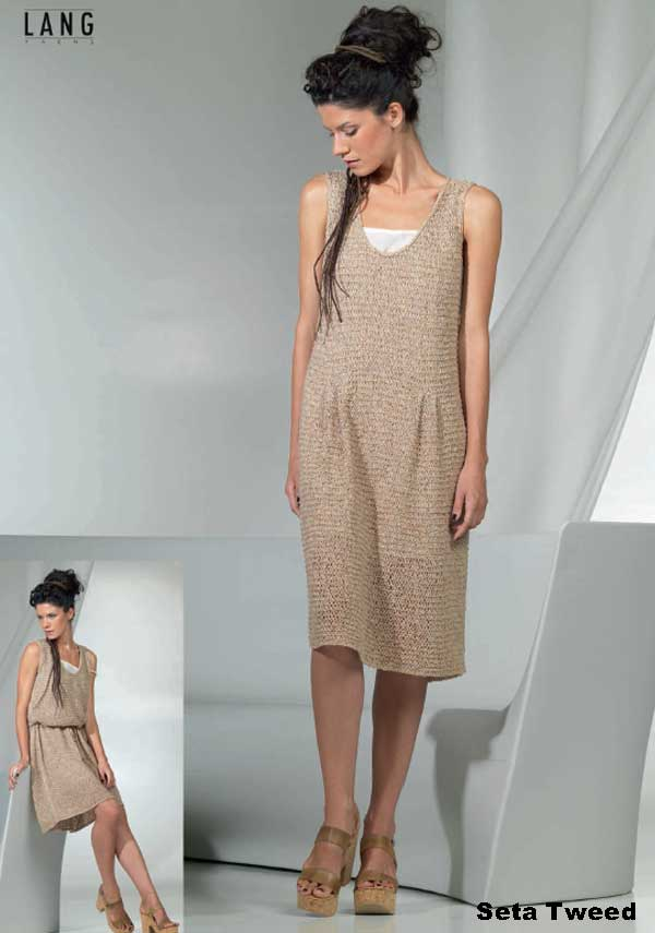 Летнее платье из пряжи  Lang Yarns. Seta Tweed